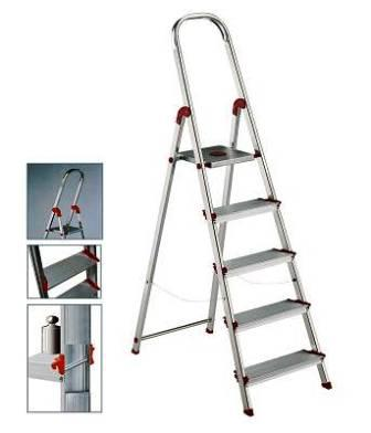 ALUMINIUM LADDER WITH 12 cm WIDE STEPS
